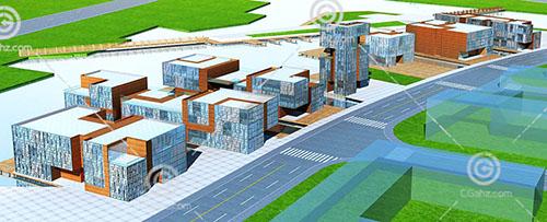 现代商业一条街3D模型下载