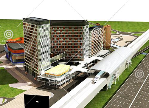 路边的大型商业综合体3D模型下载