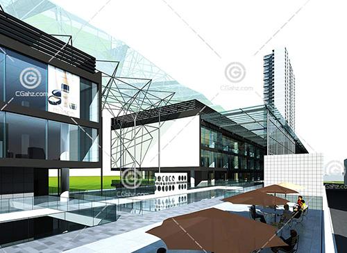 现代的商业一条街3D模型下载