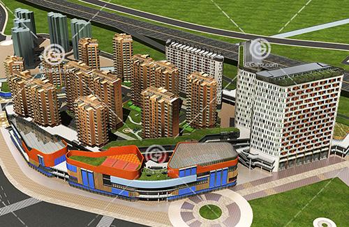 现代的商业街模型下载