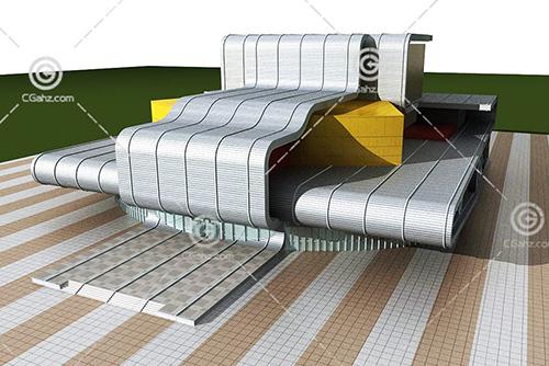 解构主义的商业综合体3D模型下载
