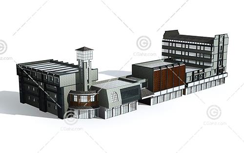现代简单的商业街3D模型下载