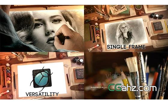 创意绘画图像内容展示AE模板