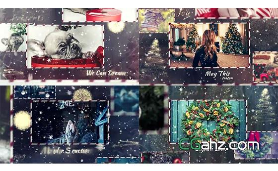 雪花星光中漂亮的圣誕節圖文展示AE模板
