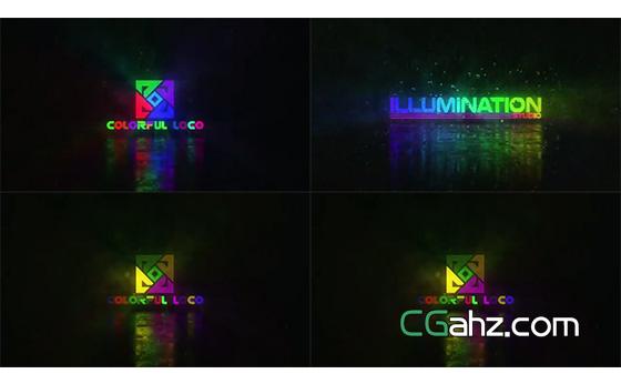 闪烁霓虹光照标志演绎特效AE模板