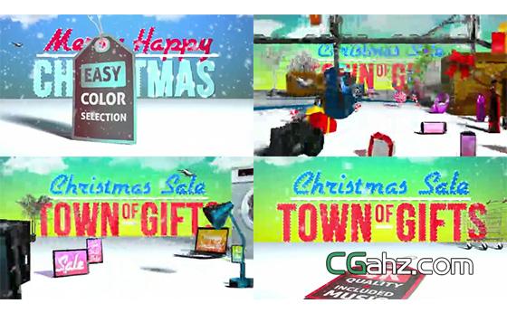 商场圣诞节购物促销活动宣传动画AE模板