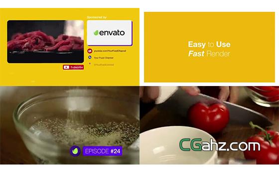电视或网络的美食频道栏目包装AE模板