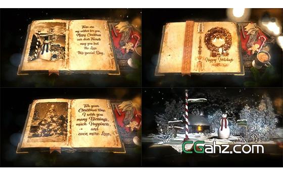 童話般的圣誕魔法彈出書籍展示AE模板