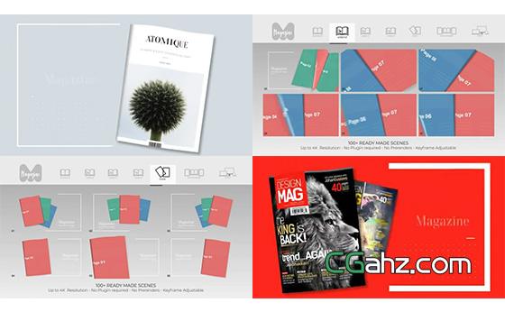 翻页杂志内容演示宣传动画创建器AE模板