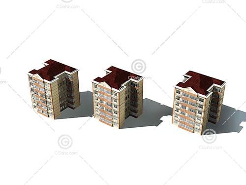 3栋简单的多层住宅3D模型下载