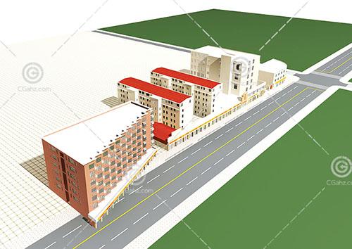 沿街多层住宅区3D模型下载