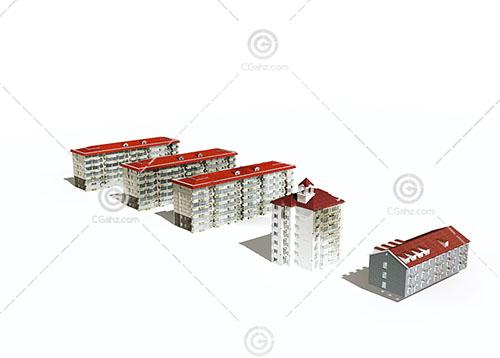 简单的欧式多层住宅3D模型下载