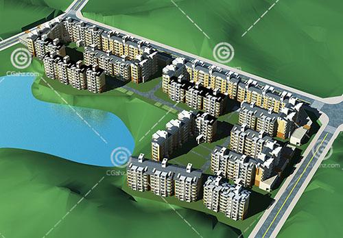 多层安置房小区3D模型下载