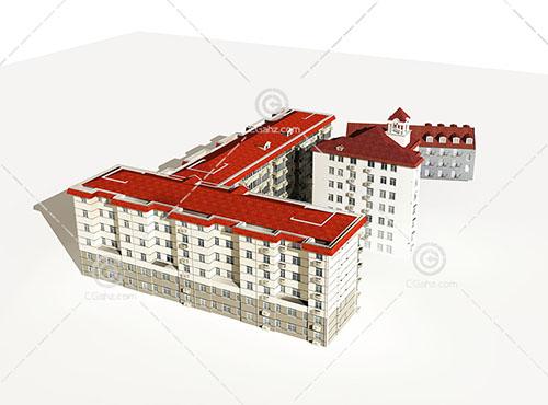 欧式的多层住宅模型下载