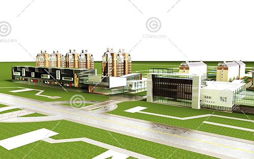 法式商业街3D模型下载