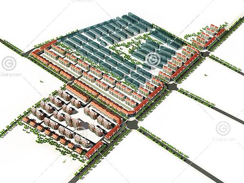 大型多层住宅小区3D模型下载