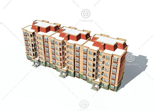 简单的法式多层住宅3D模型下载