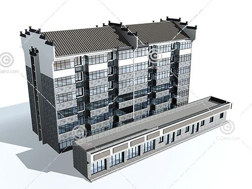 徽派的多层住宅3D模型下载