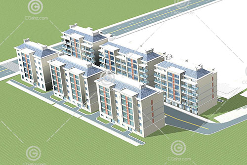 简单的法式多层住宅区3D模型下载