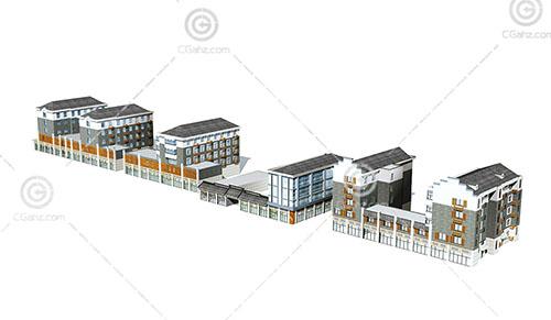 徽派的商业街3D模型下载