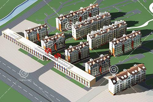 沿街的多层住宅小区3D模型下载