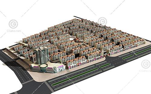 大型多层住宅区3D模型下载