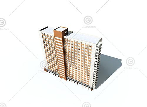 现代独栋高层住宅3D模型下载