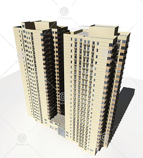 两栋常见的高层住宅3D模型下载