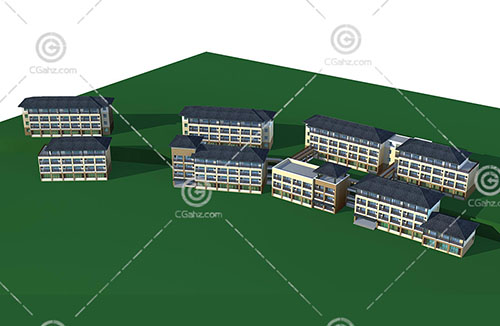 新中式的多层住宅区3D模型下载
