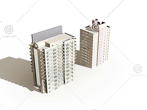 两栋现代高层住宅模型下载