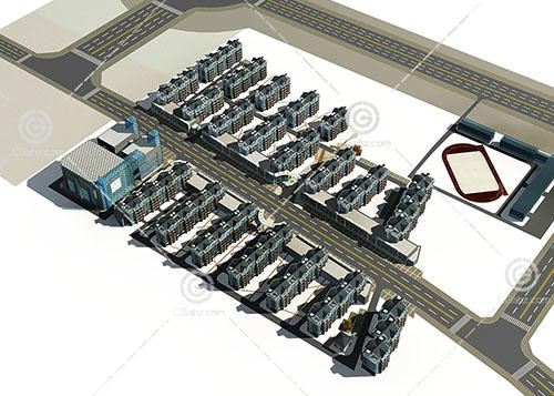 带有操场的多层住宅小区3D模型下载