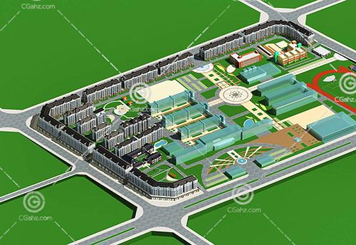 带有幼儿园的多层住宅小区3D模型下载