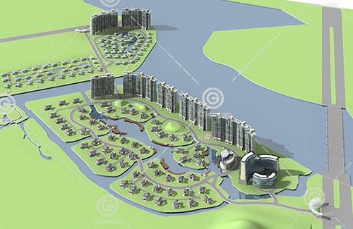 现代高层,别墅组合住宅小区3D模型下载