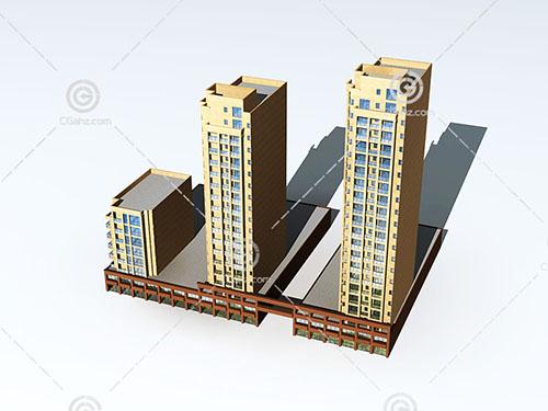 沿街高层住宅楼3D模型下载