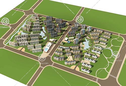 多种建筑组合住宅小区3D模型下载