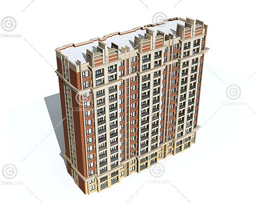 artdeco风格的高层住楼3D模型下载