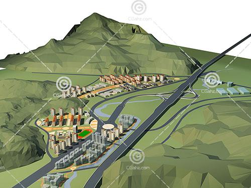 多层高层组合住宅区3D模型下载