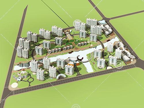现代高层多层住宅小区模型下载