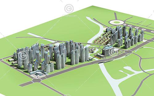 現代大型高層住宅小區3D模型下載