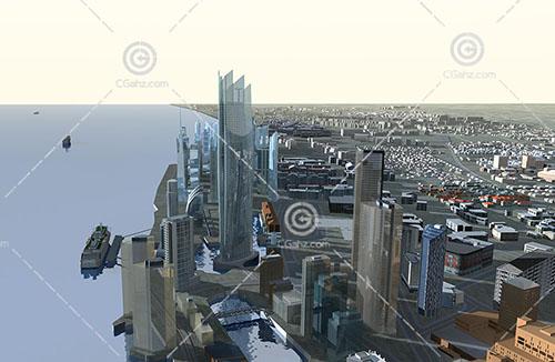 现代江边规划区3D模型下载