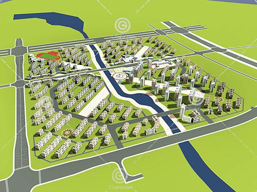 带有操场的高层多层组合住宅小区