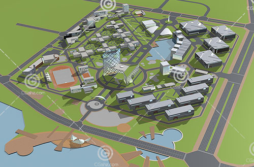 现代城市规划用地3D模型下载