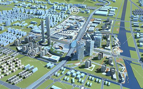 城市规划建筑群3D模型下载
