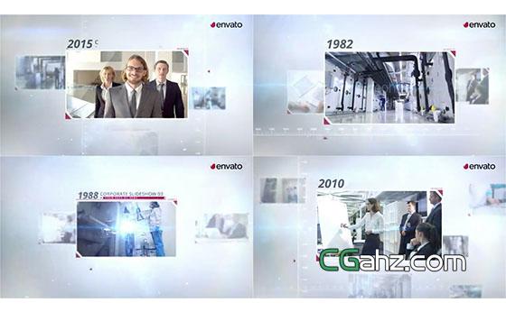 含图文展示的企业发展时间线介绍AE模板