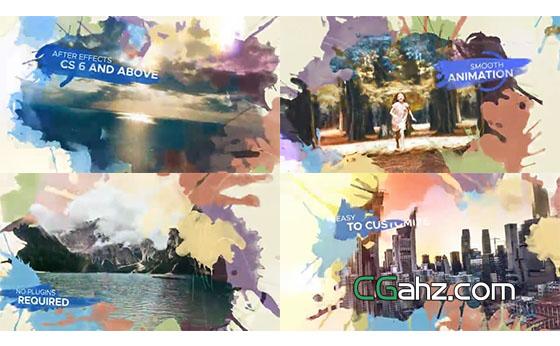 漂亮叠加水彩和图像视差特效AE模板