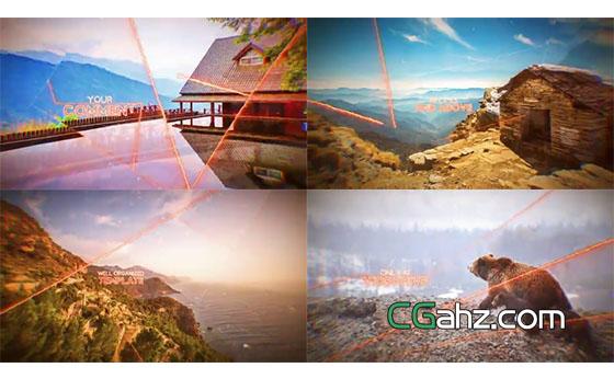 创意炫光线条分割拼合的视差图像特效AE模板