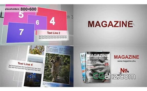 创意杂志空间排版演绎展示AE模板