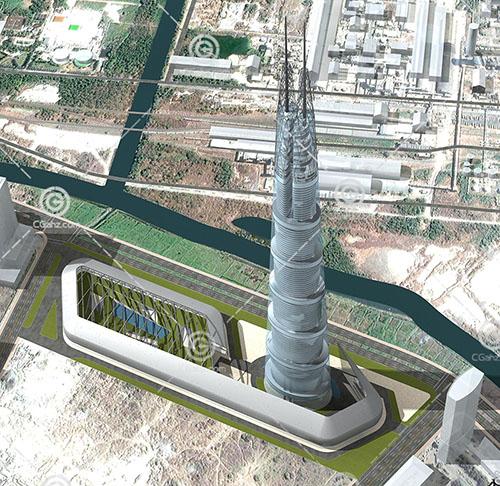 解构主义的大型酒店3D模型下载