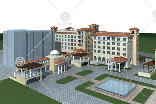 欧式酒店式公寓3D模型下载