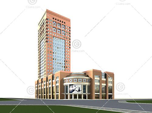 现代简单的大酒店3D模型下载